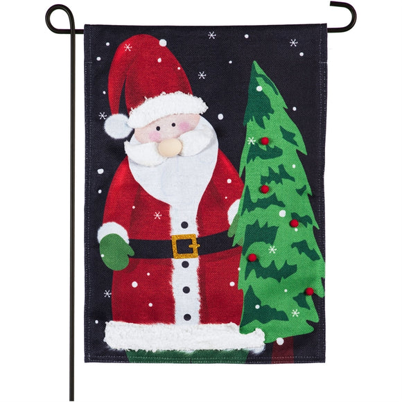 Santa Claus Burlap Garden Flag Evergreen Christmas*