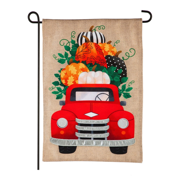 Fall Pumpkins Red Truck Burlap Garden Flag Evergreen*