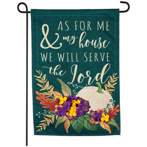 Fall As For Me And My House Burlap Garden Flag Evergreen*