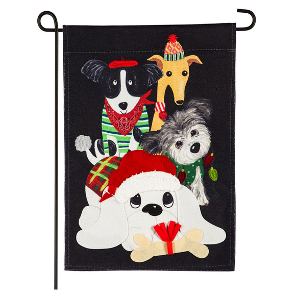 Dog Buddies Burlap Garden Flag Evergreen Christmas*