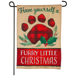 Furry Little Christmas Burlap Garden Flag Evergreen Christmas*