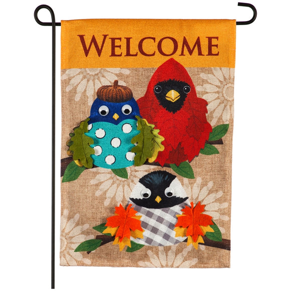 Fall Portly Birds Burlap Garden Flag Evergreen*