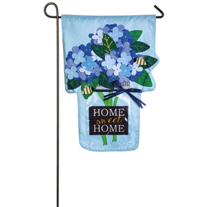 Home Sweet Home Linen Applique Garden Flag Hydrangea Evergreen - D & D Collectibles