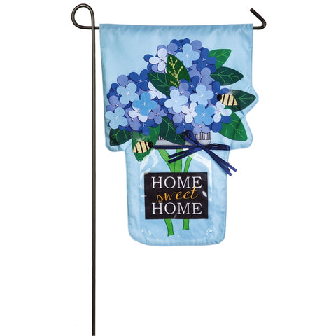 Home Sweet Home Linen Applique Garden Flag Hydrangea - D & D Collectibles