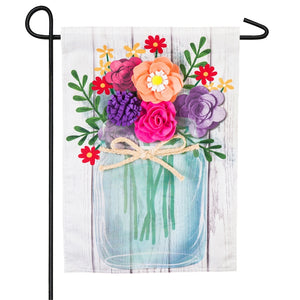 Spring Summer Mason Jar Bouquet Garden Flag Polester Linen Evergreen - D & D Collectibles