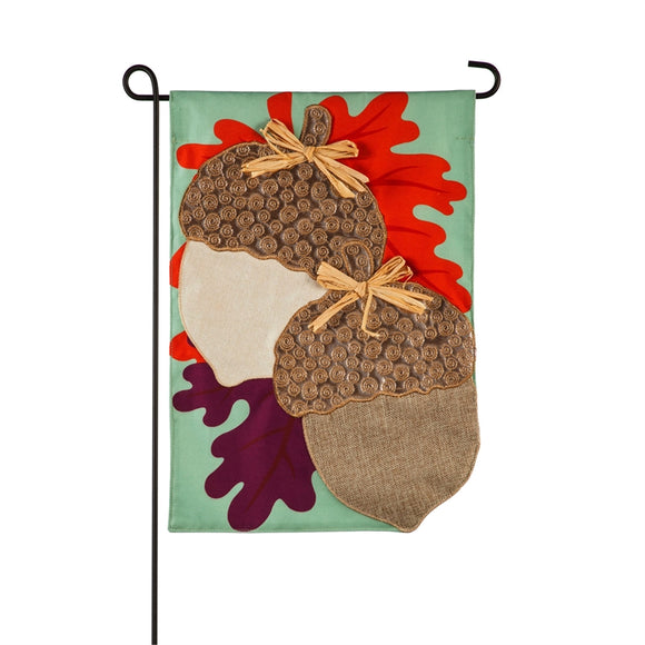 Metallic Acorns Linen Garden Flag Evergreen*