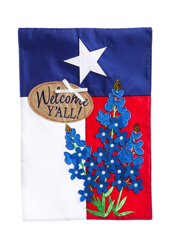 Blue Bonnets Texas Burlap Patriotic Garden Flag - D & D Collectibles