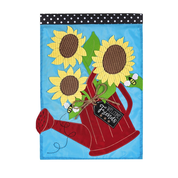 Sunflower Watering Can Garden Flag Applique - D & D Collectibles