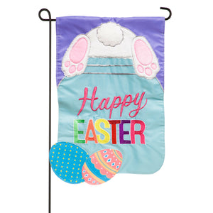 Easter Bunny Mason Jar Appliqued Garden Flag Evergreen