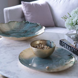 NEW ORLEANS Glass light teal gold foil round platter