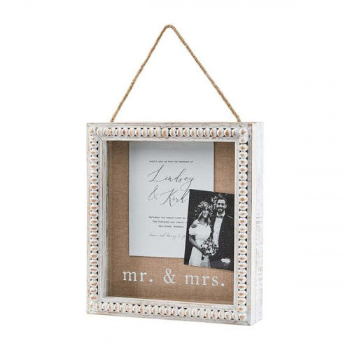 Beaded Mr & Mrs Shadow Box by Mud Pie Wedding