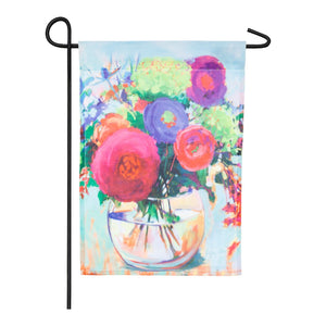 Floral Bouquet Organza Garden Flag Evergreen - D & D Collectibles