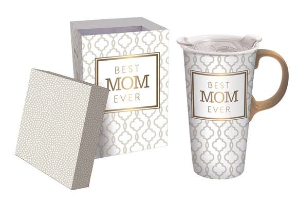 Best Mom Ever, Ceramic Travel Cup, 17 OZ. w/Box, w/ Tritan Lid - D & D Collectibles