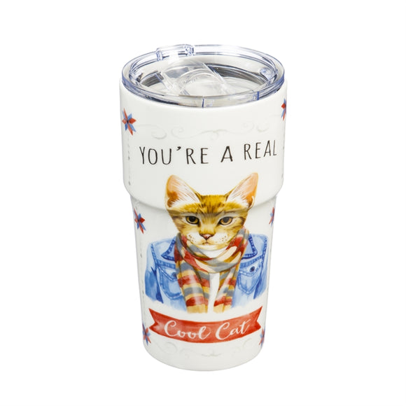 You're A Real Cool Cat Double-Wall Ceramic Companion Cup with Tritan Lid - D & D Collectibles