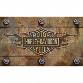 Harley Davidson Bar and Shield Flames Embossed Floor Mat - D & D Collectibles