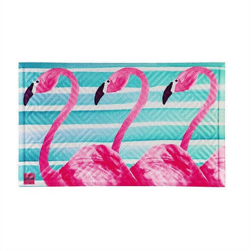 Flamingo Stripes Embossed Floor Mat - D & D Collectibles