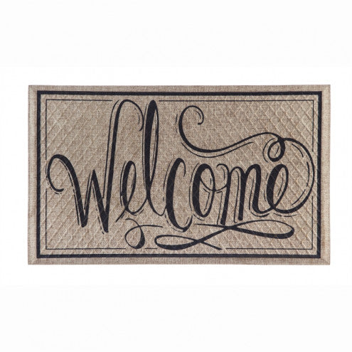 Welcome Script Embossed Floor Mat - D & D Collectibles