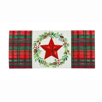 Sassafras Switch Mat Christmas Greens Wreath Plaid  by Evergreen - D & D Collectibles