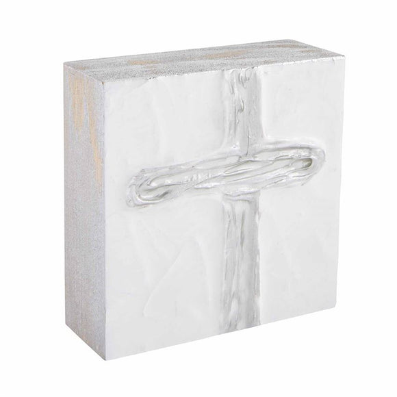 Small Silver Decorative Cross Block Art by Mud Pie
