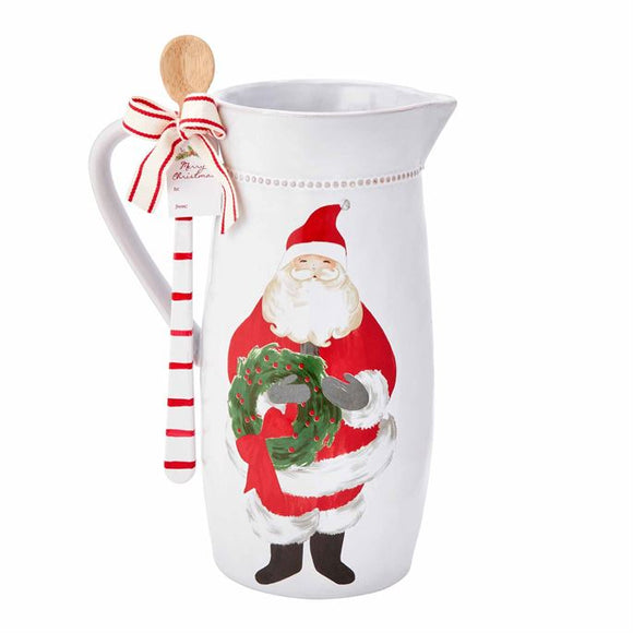 Santa Wreath Pitcher Set by Mud Pie