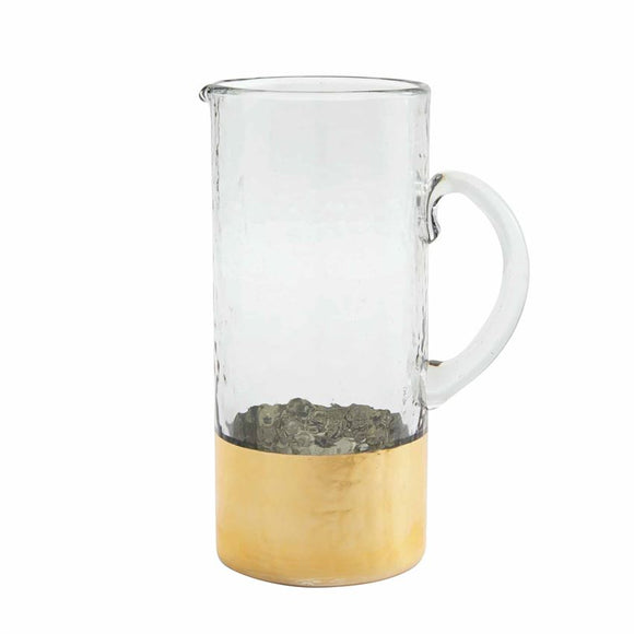 Gold Hammered Glass Pitcher Set by Mud Pie