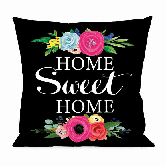 Floral Home Sweet Home Interchangeable Pillow Cover by Evergreen