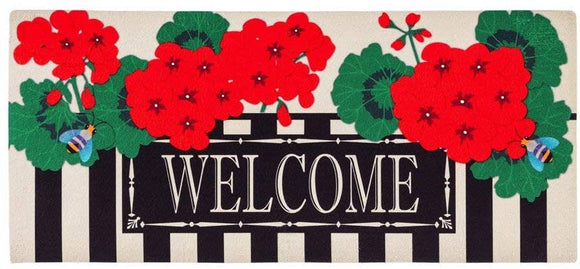 Sassafras Switch Mat Geranium Welcome  by Evergreen - D & D Collectibles