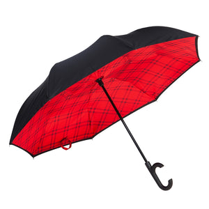 Plaid Inverted Umbrella Black/Red - D & D Collectibles