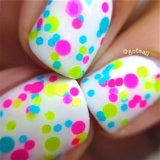 Beach Party- Polka Dot-NEON- Glitter Nail Polish by Polish Me Silly - D & D Collectibles