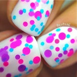 Butterfly Kisses- Polka Dot NEON Glitter Nail Polish by Polish Me Silly - D & D Collectibles