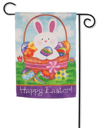 Bunny Basket Garden Flag2 Sided Message Easter Garden Flag Evergreen - D & D Collectibles