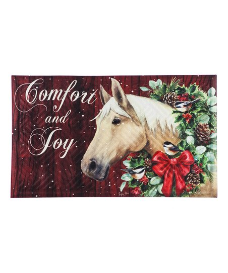 Christmas Horse  Embossed Door Mat - D & D Collectibles