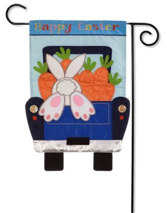 Happy Easter Bunny Digs Garden Flag Applique Evergreen - D & D Collectibles