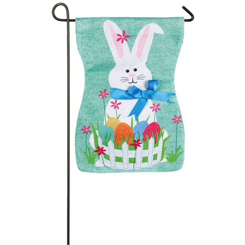 Easter Bunny Garden Flag Burlap - D & D Collectibles