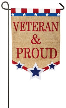 Veteran & Proud Garden Flag Evergreen - D & D Collectibles