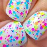 Fun Zone- Polka Dot-NEON- Glitter Nail Polish by Polish Me Silly - D & D Collectibles
