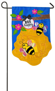 Bee Happy Garden Flag Appique Evergreen - D & D Collectibles