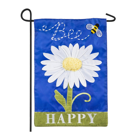Bee Happy Daisy Applique Garden Flag - D & D Collectibles