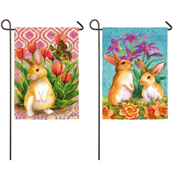 Bunny Patch Garden Flag Easter Evergreen - D & D Collectibles