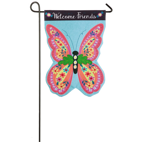 Butterfly Welcome Linen Garden Flag - D & D Collectibles