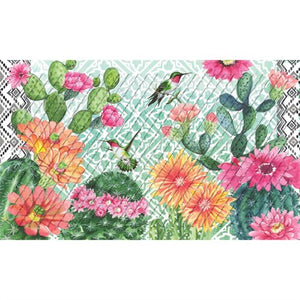 Cactus Bloom Embossed Door Mat - D & D Collectibles