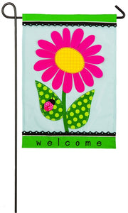 Garden Flag Welcome Daisy Applique Spring/Summer Evergreen - D & D Collectibles