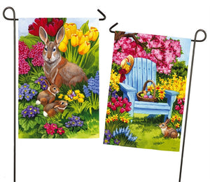Easter Bunny 2 Sided Garden Flag Suede Evergreen - D & D Collectibles