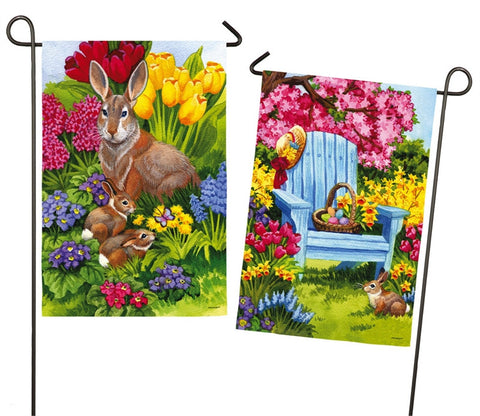 Easter Bunny 2 Sided Garden Flag Suede - D & D Collectibles