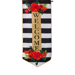 Floral Stripe Welcome Everlasting Impressions Flag - D & D Collectibles