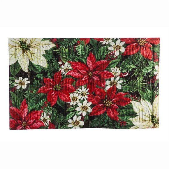 Christmas Poinsetta Embossed Door Mat - D & D Collectibles