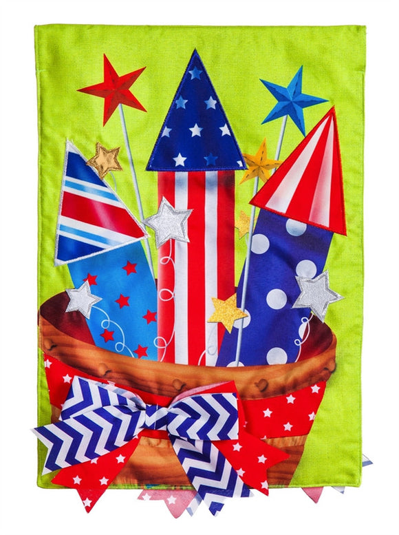 Basket of Fireworks Garden Burlap Flag - D & D Collectibles