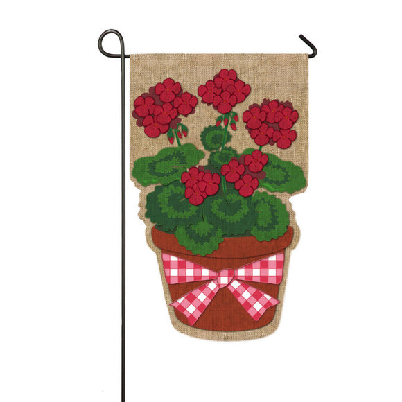 Garden Flag Burlap Geranium - D & D Collectibles