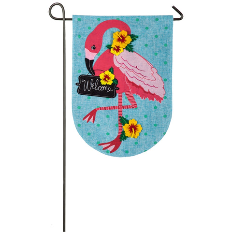 Classy Flamingo Garden Flag Burlap Spring/Summer - D & D Collectibles