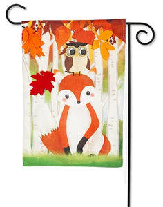 Whimsical Fall Fox Garden Flag Evergreen*
